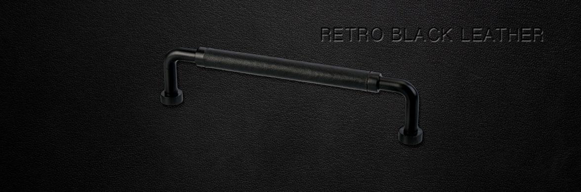 Möbelgriff Retro Schwarz / Schwarz Leder