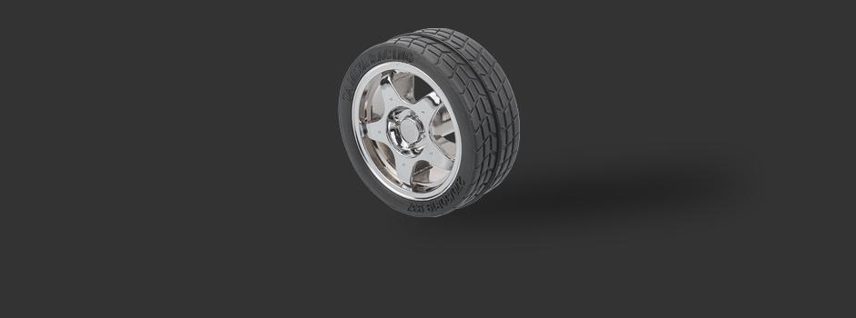 """Möbelknopf Reifen """"Tyre"""" Glänzend Verchromt / Schwarz"""